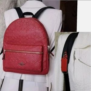 Coach Designer Backpack Signature Leather Bag
